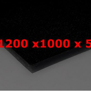 M² SILICONE SHEET BLACK FOOD GRADE 60ºSH (±5) WIDE 1200MM X 5MM (±0,4MM)