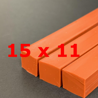 M. RED BRICK SILICONE PROFILE FOOD GRADE 60 SH° (±5) 15 mm X 11 mm