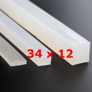 M.  TRANSLUCENT SILICONE PROFILE FOOD GRADE 60 SH° (±5)   34 mm X   12 mm