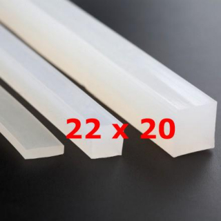 M.  TRANSLUCENT SILICONE PROFILE FOOD GRADE 60 SH° (±5)   22 mm X   20 mm