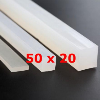 M.  TRANSLUCENT SILICONE PROFILE FOOD GRADE 60 SH° (±5)   50 mm X   20 mm