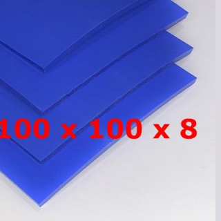 BLUE SILICONE SHEET FOOD SAFE 60 SH° (±5) 100 mm X 100 mm X 8mm (±0,5) Thickness