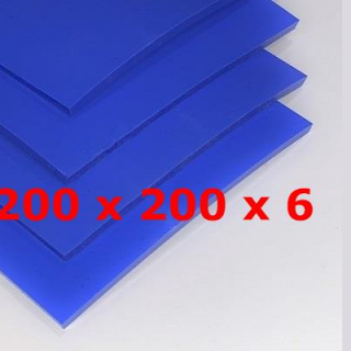 BLUE SILICONE SHEET FOOD SAFE 60 SH° (±5) 200 mm X 200 mm X 6mm (±0,4) Thickness