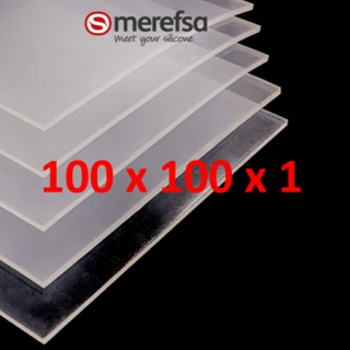TRANSLUCENT SILICONE SHEET FOOD SAFE 60 SH° (±5) 100 mm x 100 mm x 1 (±0,2) Thickness NO TALC