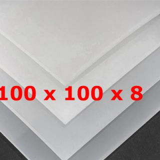TRANSLUCENT SILICONE SHEET FOOD SAFE 60 SH° (±5) 100 mm X 100 mm X 8mm (±0,5) Thickness