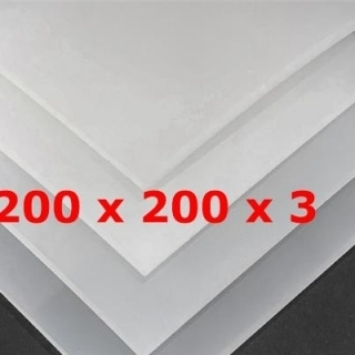 TRANSLUCENT SILICONE SHEET FOOD SAFE 60 SH° (±5) 200 mm X 200 mm X 3mm (±0,3) Thickness