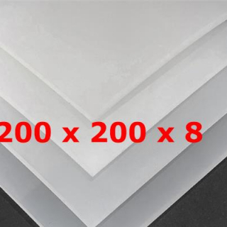 TRANSLUCENT SILICONE SHEET FOOD SAFE 60 SH° (±5) 200 mm X 200 mm X 8mm (±0,5) Thickness