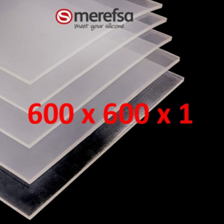 TRANSLUCENT SILICONE SHEET FOOD SAFE 60 SH° (±5) 600 mm x 600 mm x 1 (±0,2) Thickness NO TALC