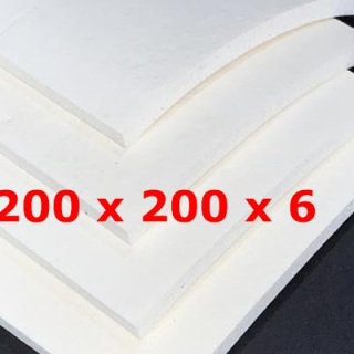 WHITE SPONGE SILICONE SHEET 200 mm X 200 mm DENS 0,25 gr/cm³ 6 mm (± 0,5)