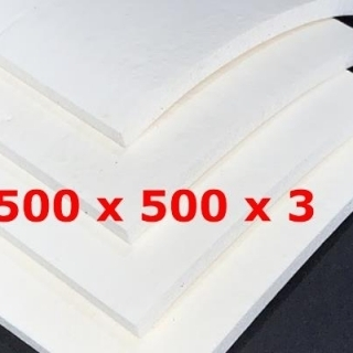 WHITE SPONGE SILICONE SHEET FDA  500 mm X 500 mm DENS 0.39 gr/cm³ 3 mm  (± 0,5)