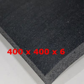 BLACK SPONGE SILICONE SHEET 400 mm X 400 mm DENS 0,25 gr/cm³ 6 mm (± 0,5)