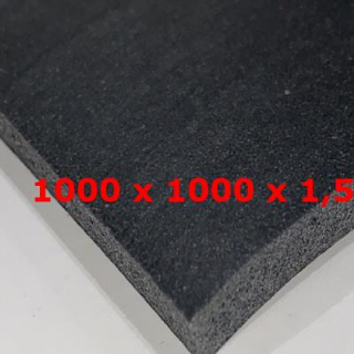 M. BLACK  SILICONE SPONGE SHEET DENS. 0.25 gr/cm³ 1000 mm WIDE X 1.5 mm Thickness + ADHESIVE 1 FACE
